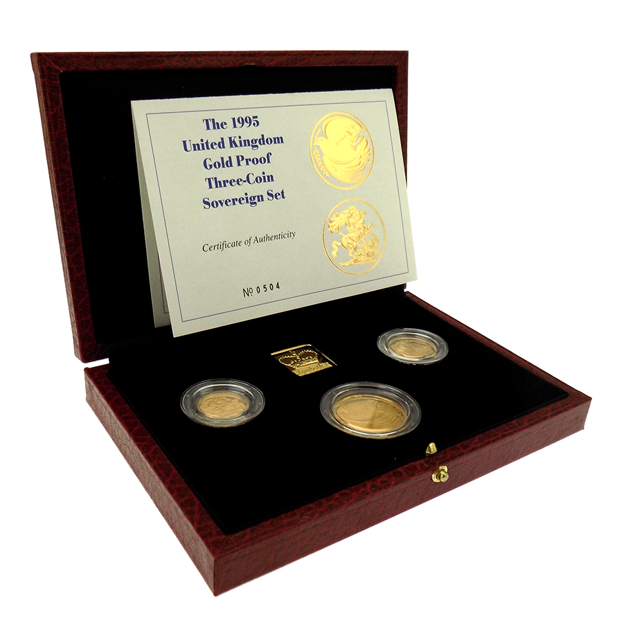 Pre-Owned 1995 UK Proof Sovereign Gold 3 Coin Collection