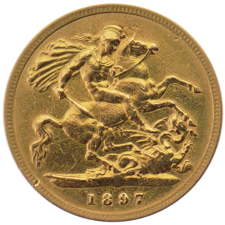 Pre-Owned 1897 UK Victorian Half Sovereign Gold Coin