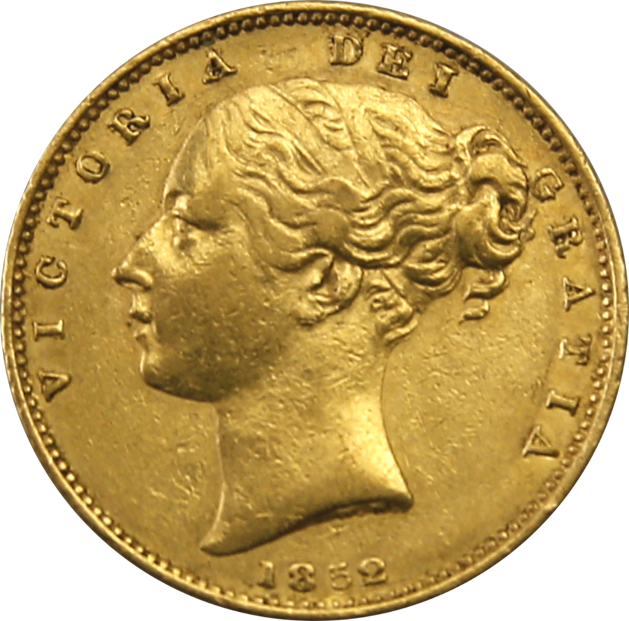 Pre-Owned 1852 London Mint Victorian 'Shield' Full Sovereign Gold Coin (Image 1)