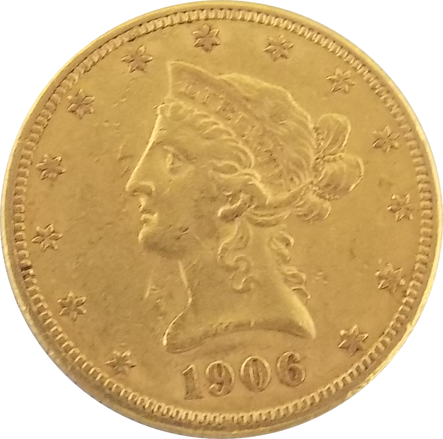 Pre-Owned 1906 USA Liberty Eagle $10 Gold Coin