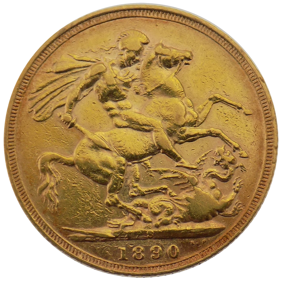 Pre-Owned 1890 Sydney Mint Victoria Jubilee Head Full Sovereign Gold Coin