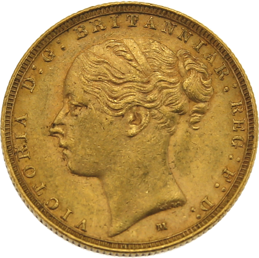 Pre-Owned 1886 Melbourne Mint Victoria Young Head Full Sovereign Gold Coin