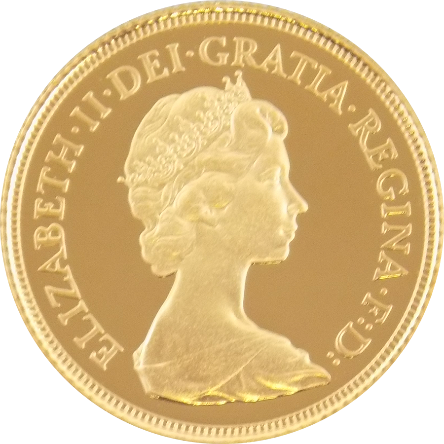 Pre-Owned 1982 UK Elizabeth II Full Sovereign Proof Design Gold Coin