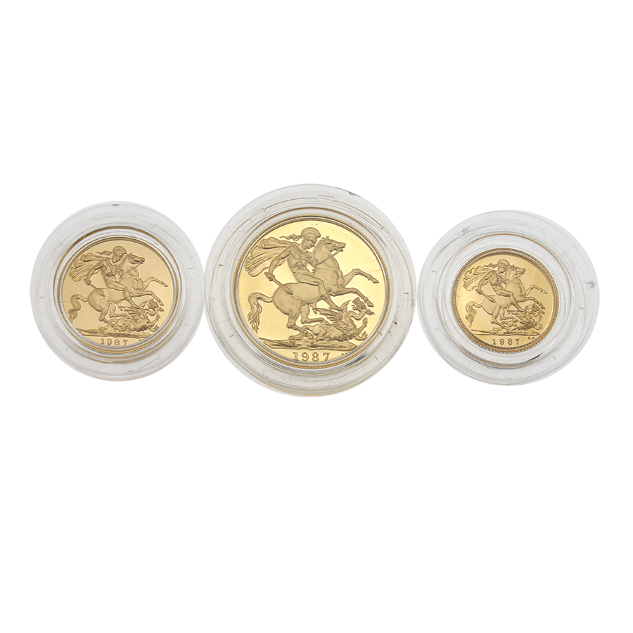 Pre-Owned 1987 UK Gold Sovereign Proof 3 Coin Set (Image 2)