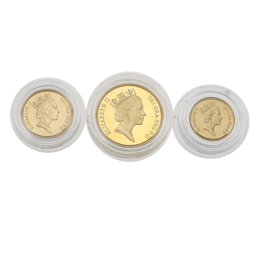 Pre-Owned 1987 UK Gold Sovereign Proof 3 Coin Set (Image 3)