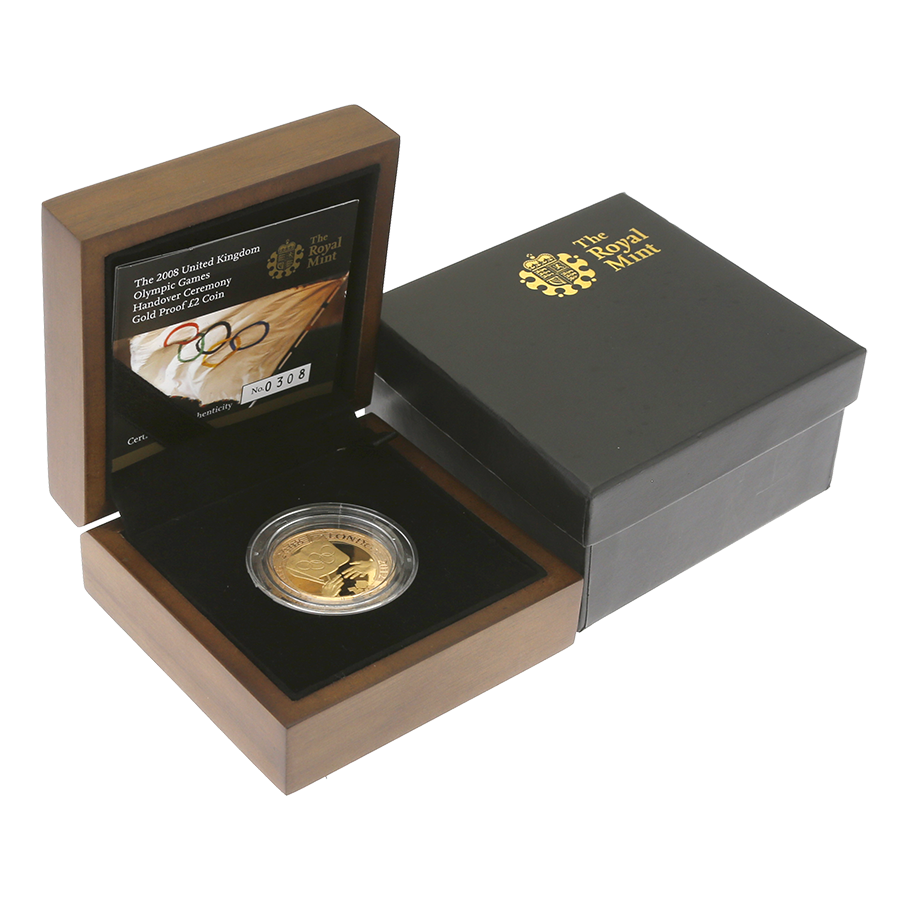 Pre-Owned 2008 UK Olympic Games Handover Ceremony Gold Proof £2 Coin