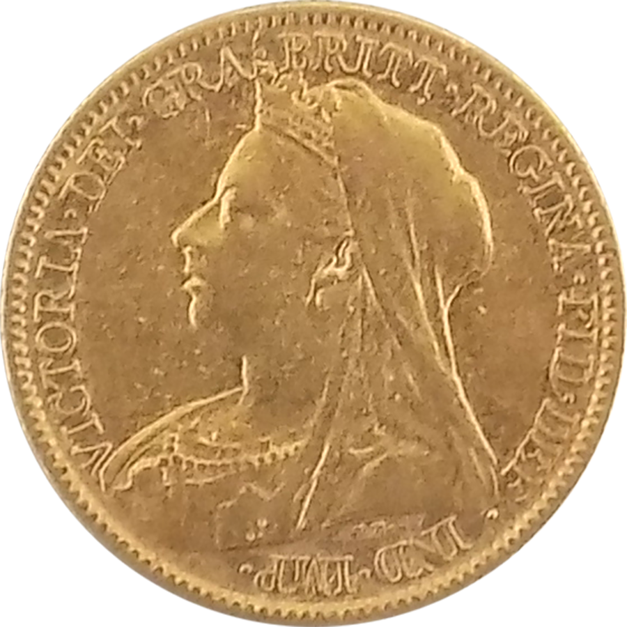 Pre-Owned 1900 UK Victoria Veiled Half Sovereign Gold Coin