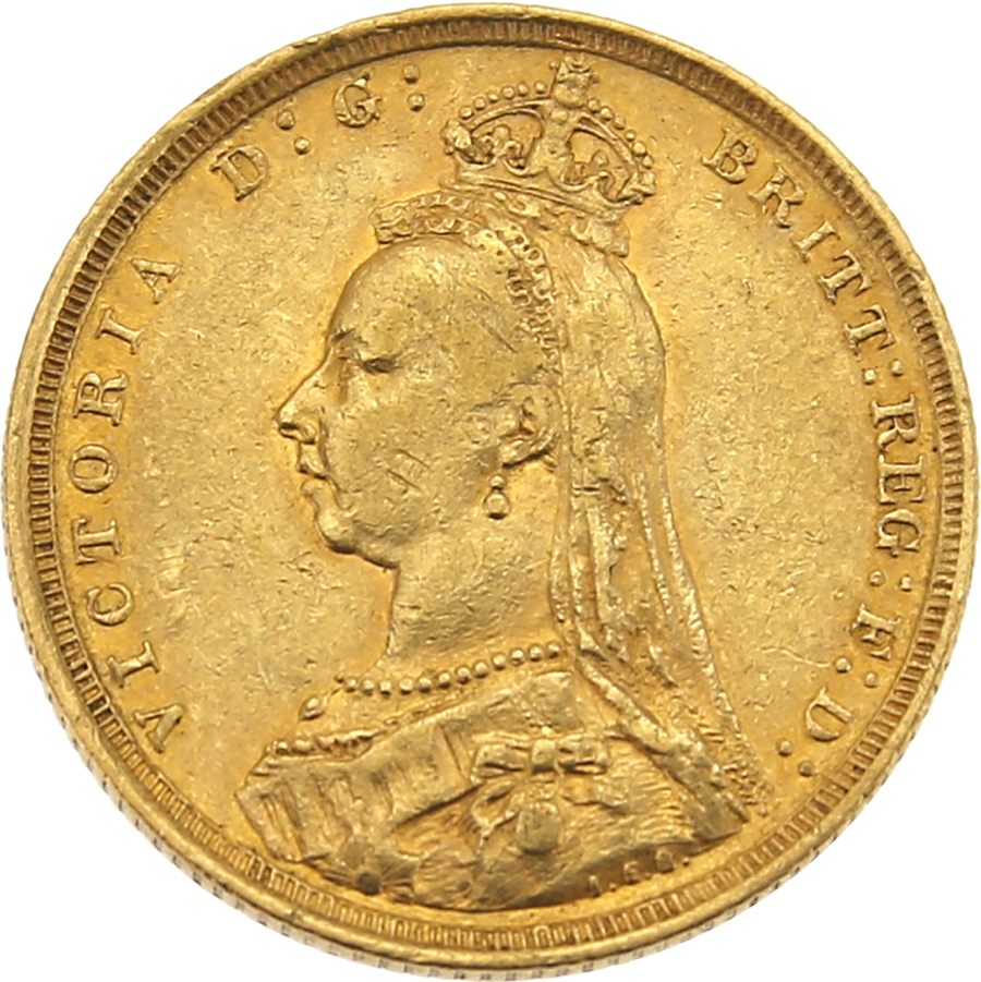 Pre-Owned 1888 Sydney Mint Victoria Jubilee Head Full Sovereign Gold Coin
