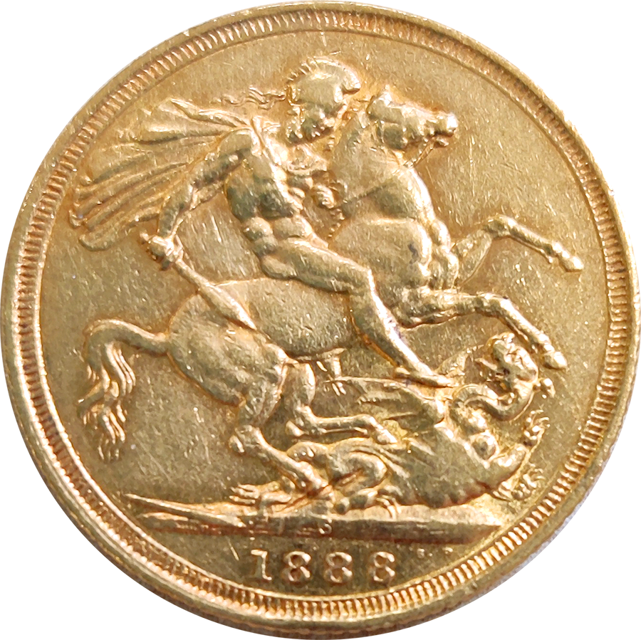 Pre-Owned 1888 Sydney Mint Victoria Jubilee Head Full Sovereign Gold Coin (Image 2)