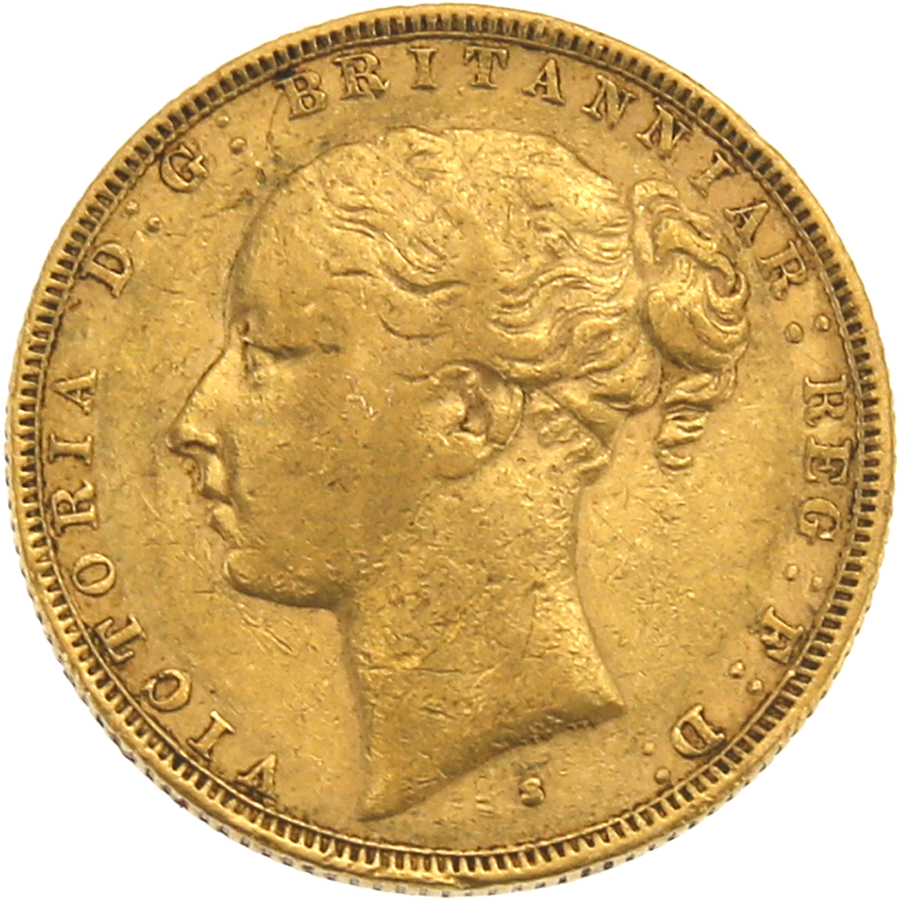 Pre-Owned 1880 Sydney Mint Victoria Young Head Full Sovereign Gold Coin (Image 1)