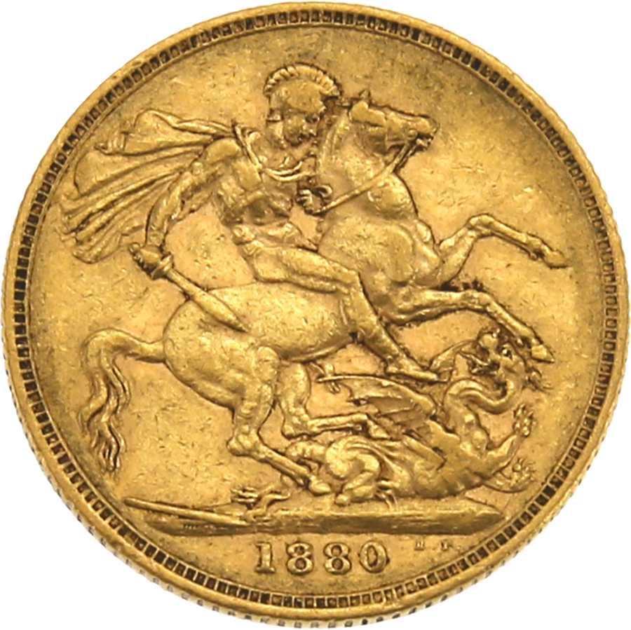 Pre-Owned 1880 Sydney Mint Victoria Young Head Full Sovereign Gold Coin (Image 2)