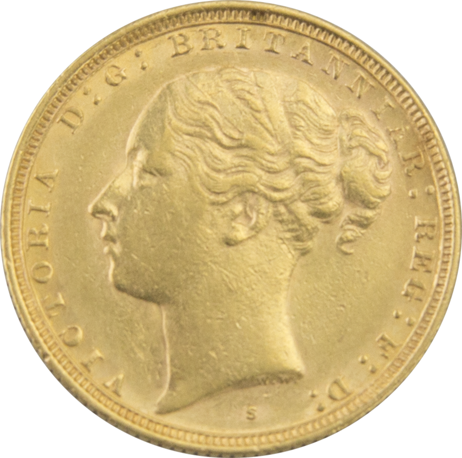 Pre-Owned 1885 Sydney Mint Victoria Young Head Full Sovereign Gold Coin