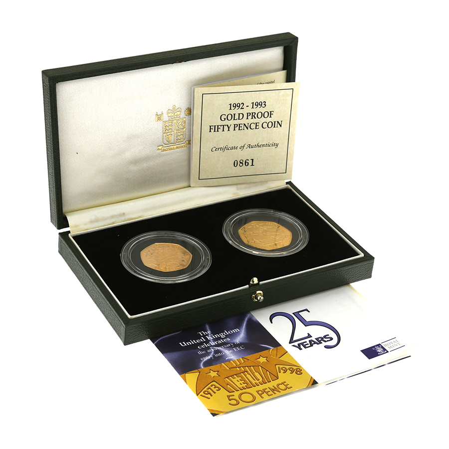 Pre-Owned 1998 & 1992/93 UK EEC Gold Proof 50p 2 Coin Set