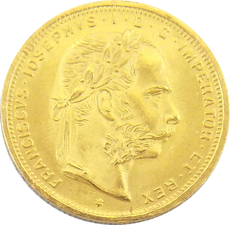 Pre-Owned 1892 Austrian 20 Franc 8 Florins Gold Coin