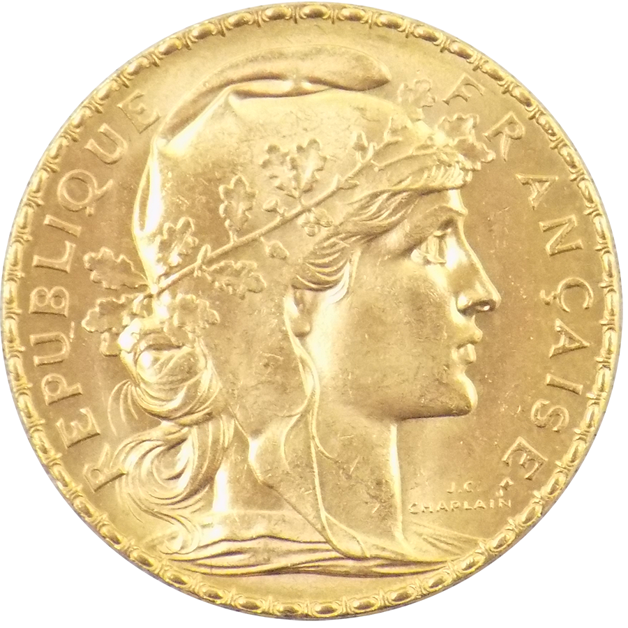 Pre Owned 1911 French 20 Franc Rooster Gold Coin Atkinsons