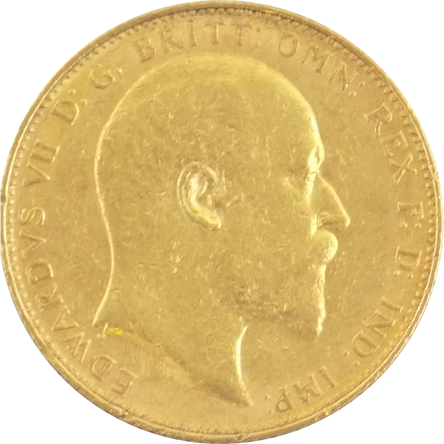 Pre-Owned 1908 Melbourne Mint Edward VII Full Sovereign Gold Coin (Image 1)