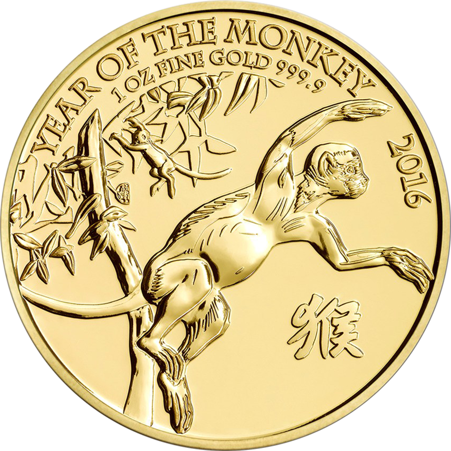Pre-Owned 2016 UK Lunar Monkey 1oz Gold Coin