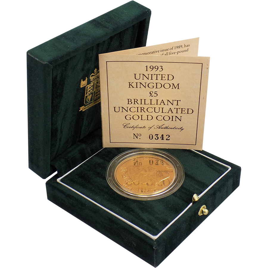 Pre-Owned 1993 UK Brilliant Uncirculated £5 Gold Coin