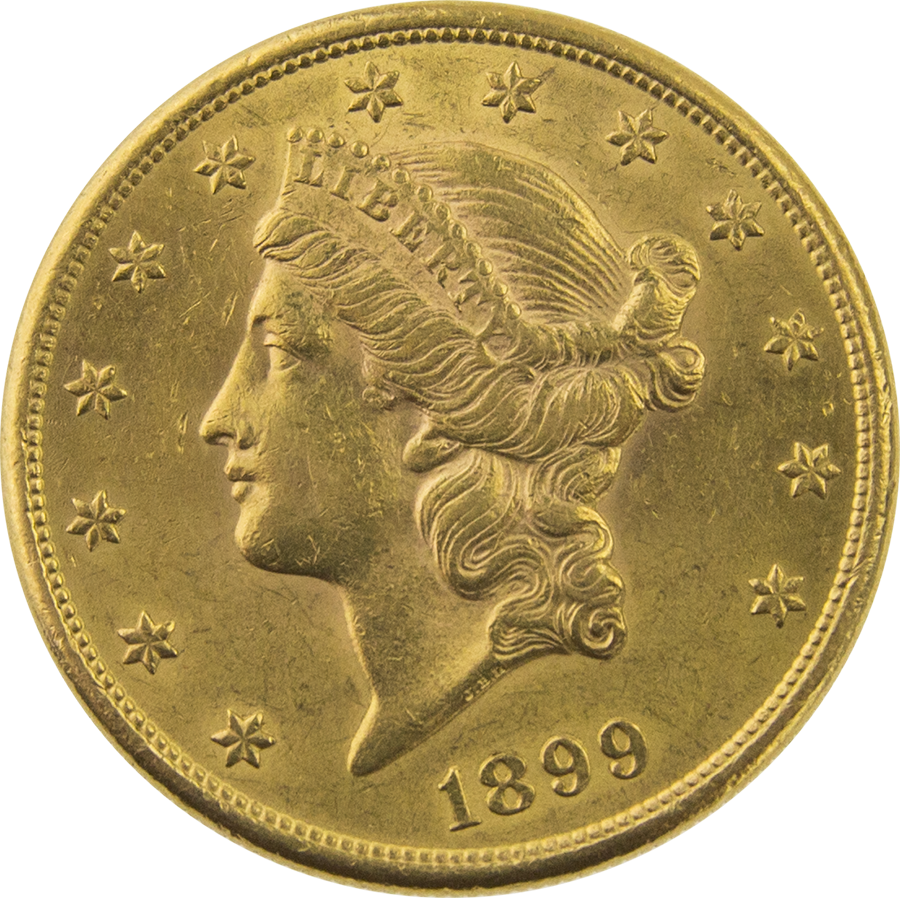 Pre-Owned 1899 USA $20 Double Eagle Gold Coin
