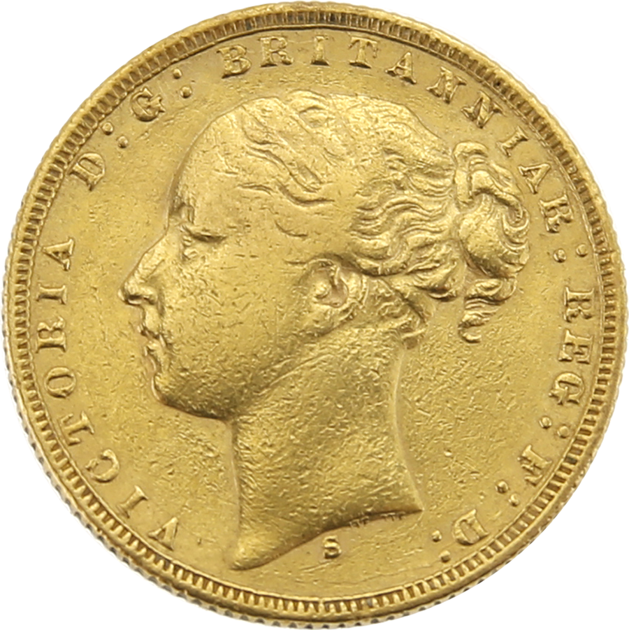 Pre-Owned 1875 Sydney Mint Victoria Young Head Full Sovereign Gold Coin