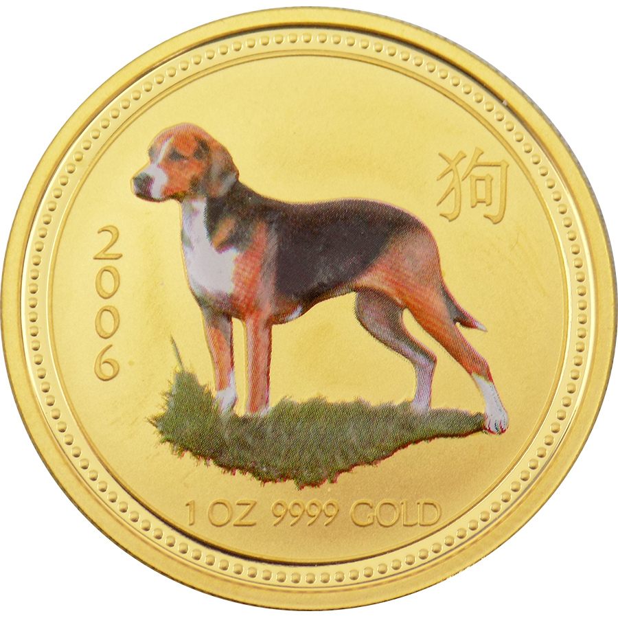 Pre-Owned 2006 Australian Lunar Dog Colourised 1oz Gold Coin
