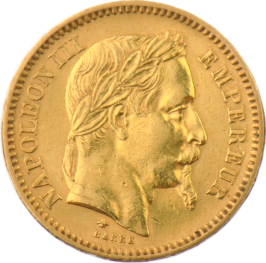 Pre-Owned 1861 French 20 Franc Napoleon III Gold Coin (Image 1)