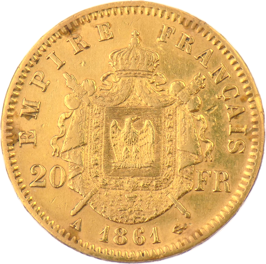 Pre-Owned 1861 French 20 Franc Napoleon III Gold Coin (Image 2)