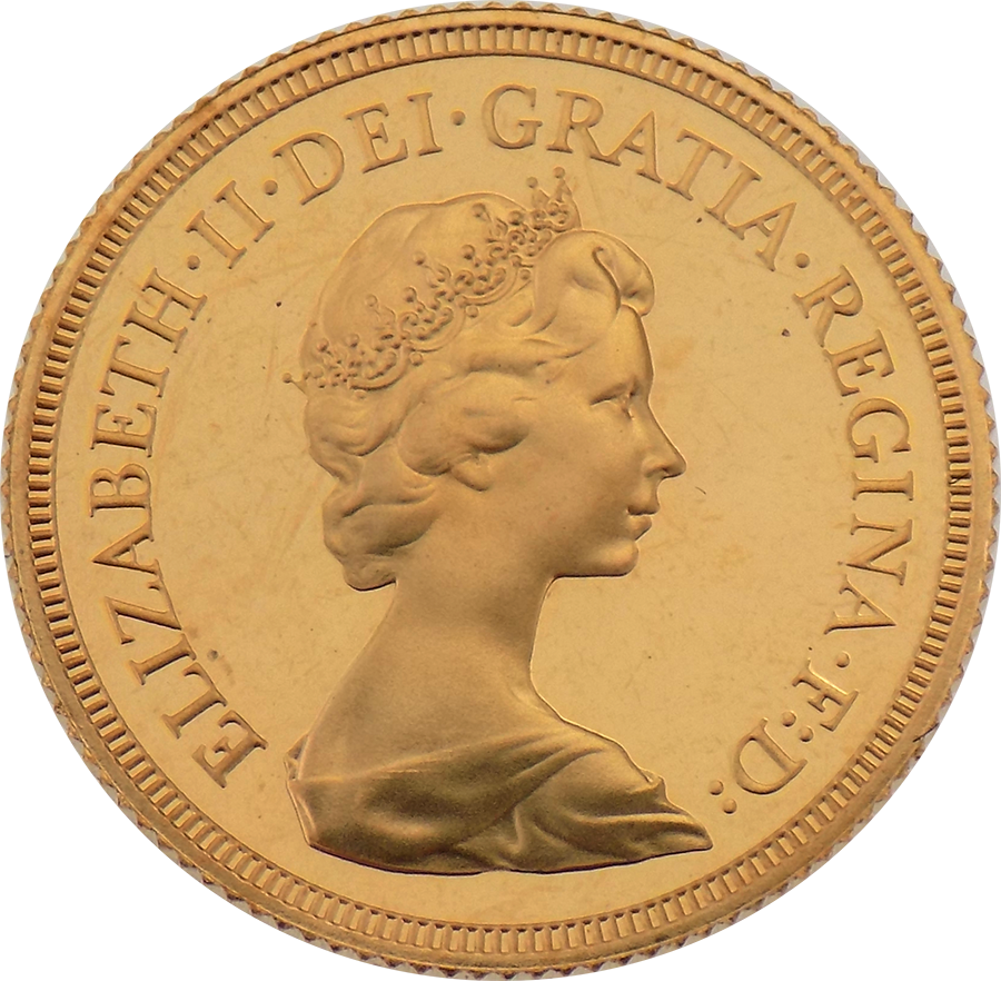 Pre-Owned 1979 UK Elizabeth II Full Sovereign Proof Design Gold Coin