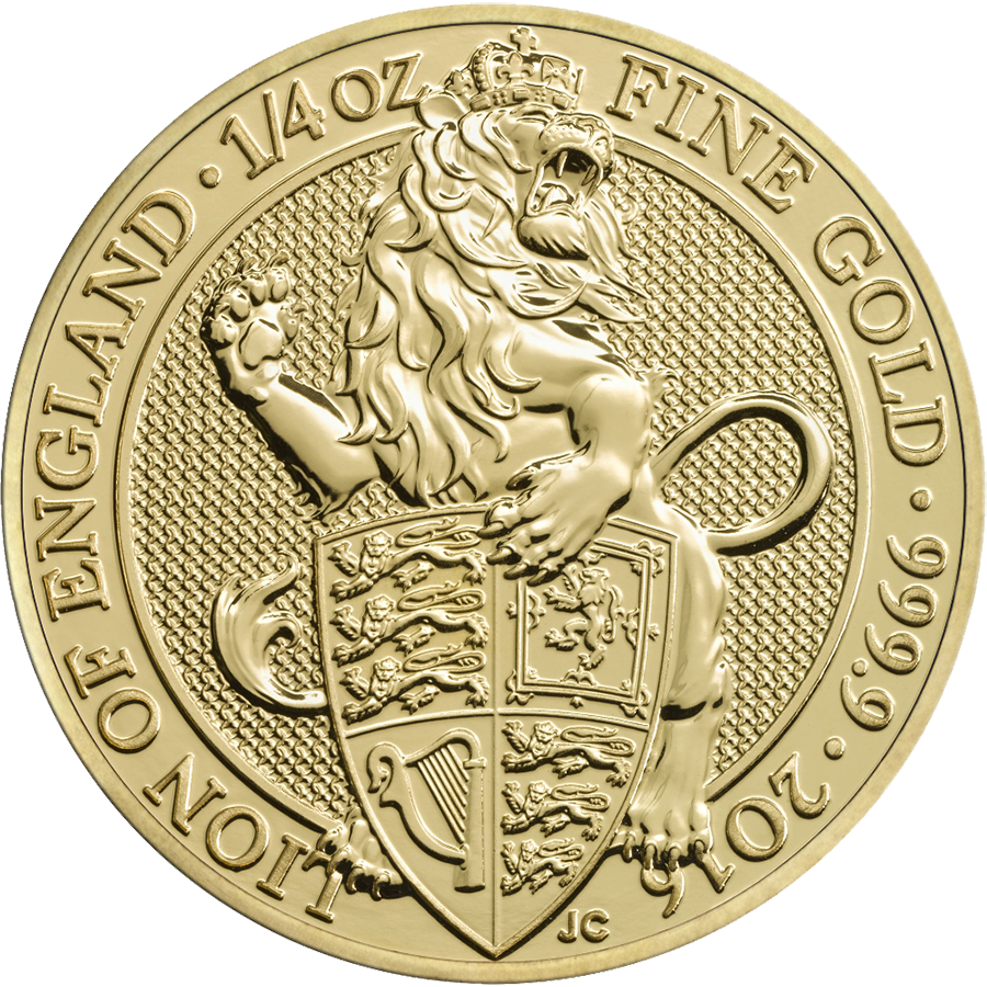 Pre-Owned 2016 UK Queen's Beasts The Lion 1/4oz Gold Coin