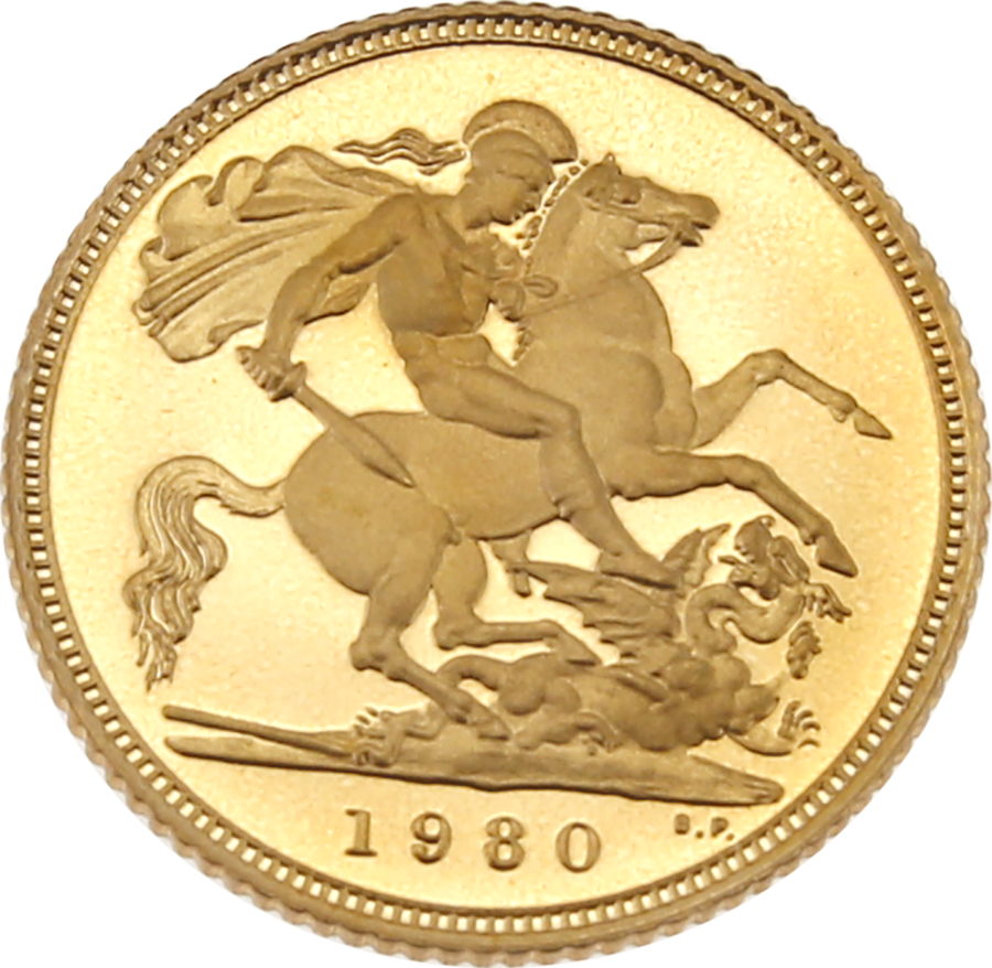 Pre-Owned 1980 UK Half Sovereign Gold Proof Coin (Image 2)