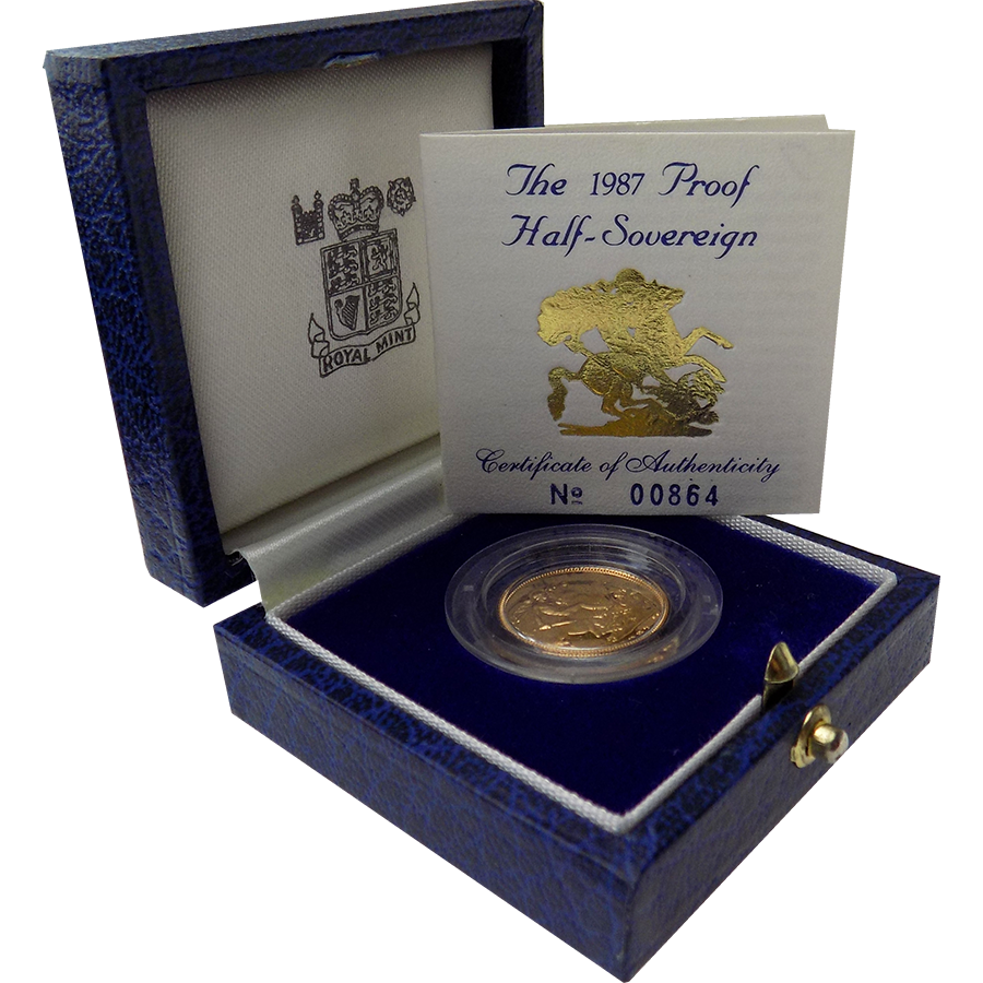Pre-Owned 1987 UK Half Sovereign Proof Gold Coin