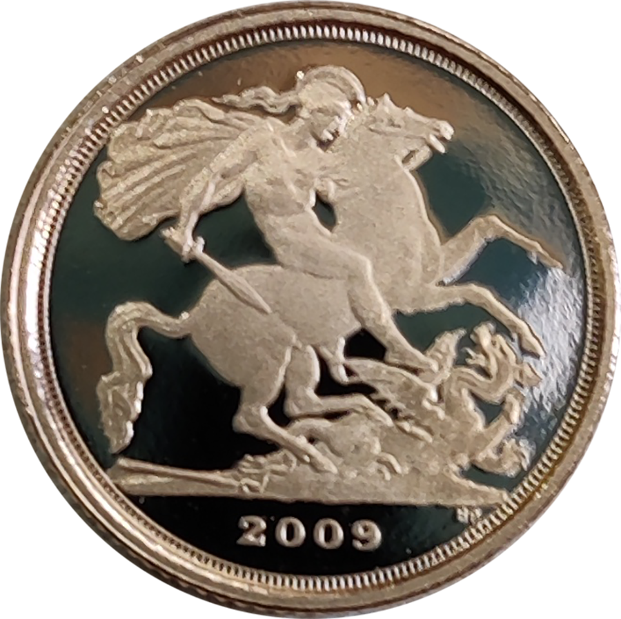 Pre-Owned 2009 UK Quarter Sovereign Proof Gold Coin (Image 2)