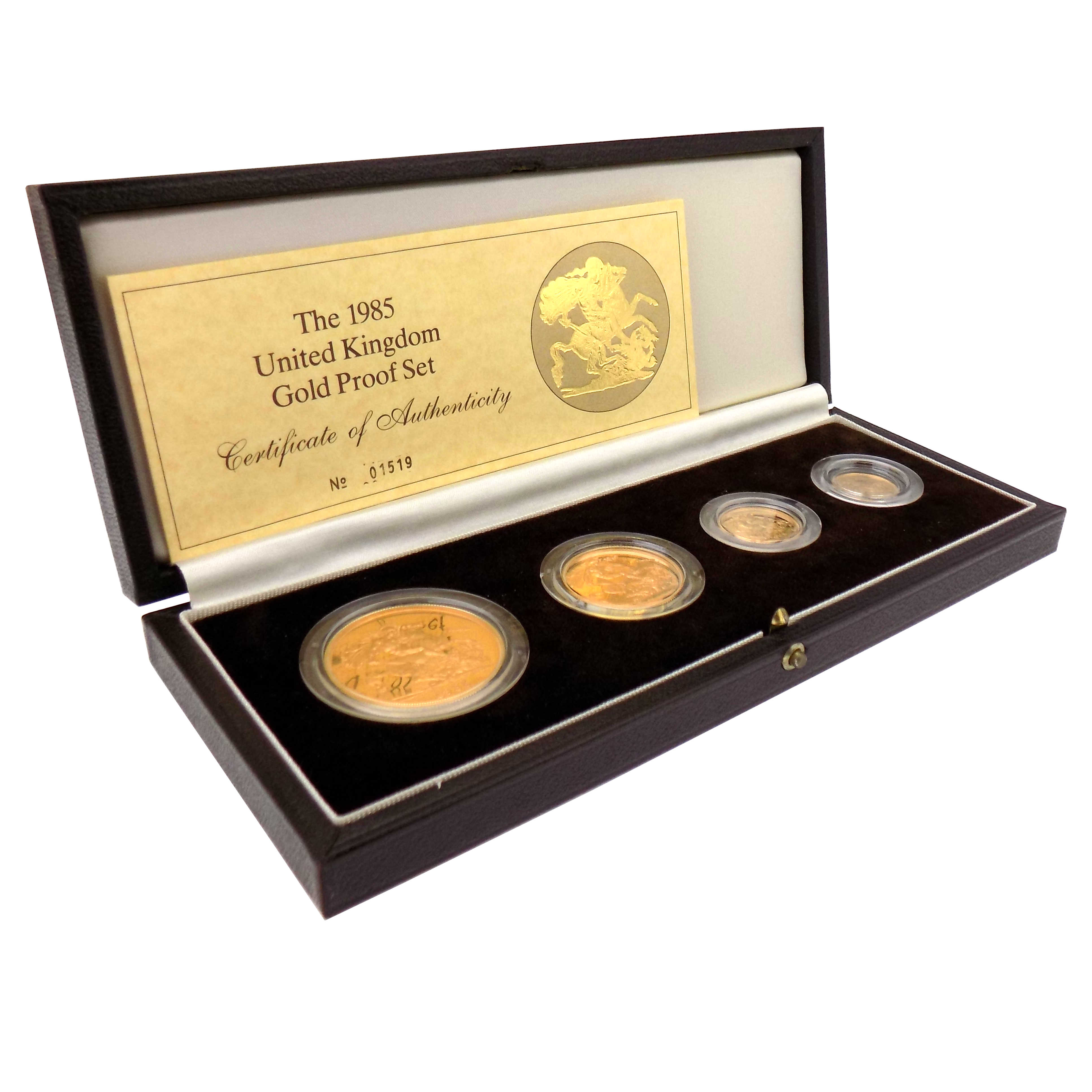 Pre-Owned 1985 UK Sovereign Gold Proof 4 Coin Set