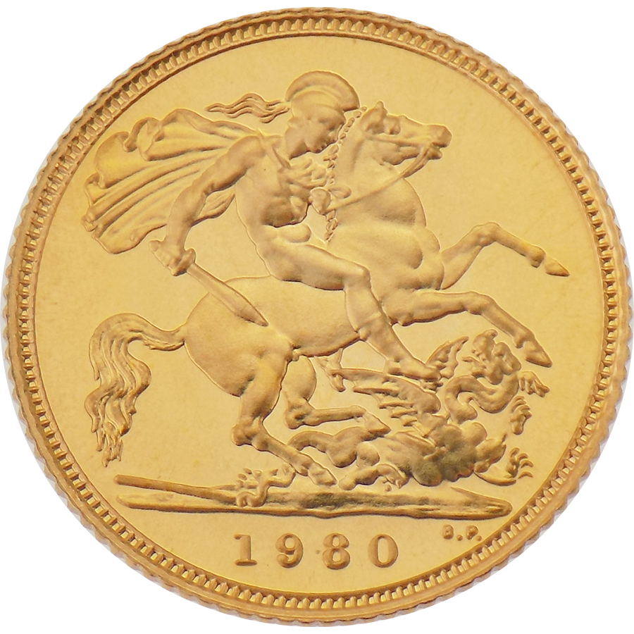 Pre-Owned 1980 UK Proof Design Half Sovereign Gold Coin