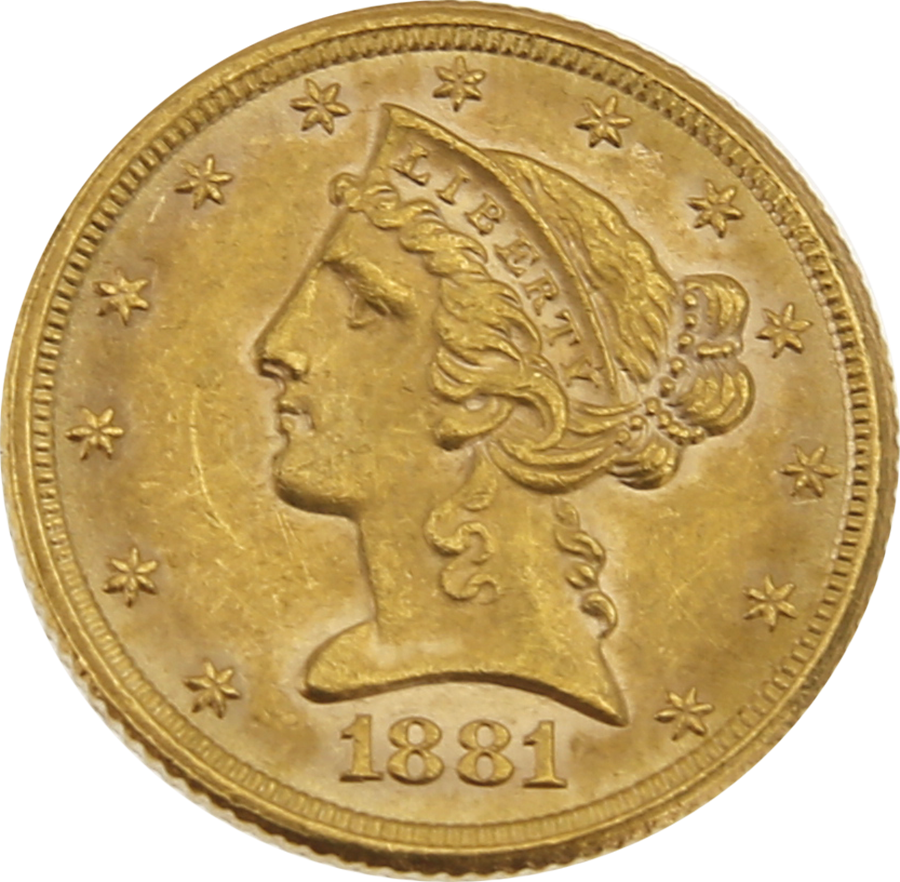 Pre-Owned 1881 USA Half Eagle $5 Gold Coin