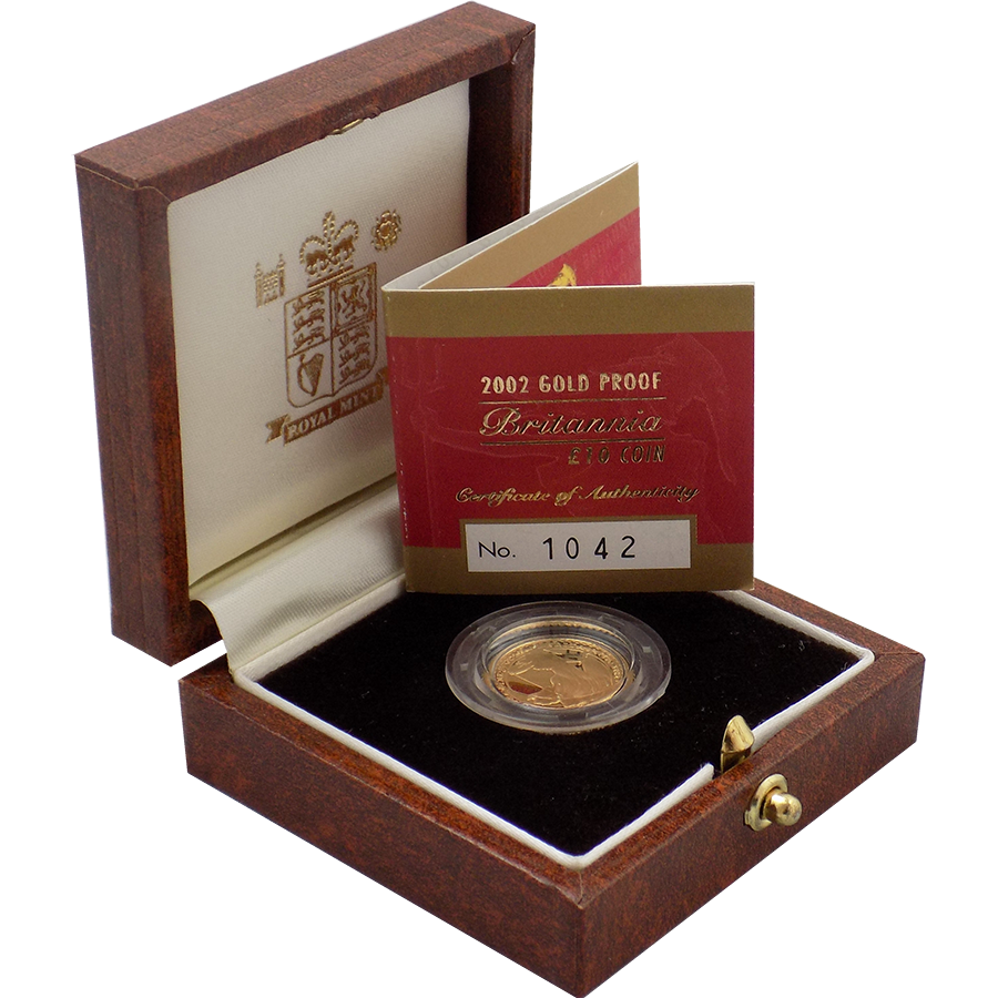 Pre- Owned 2002 UK Britannia 1/10oz Proof Gold Coin
