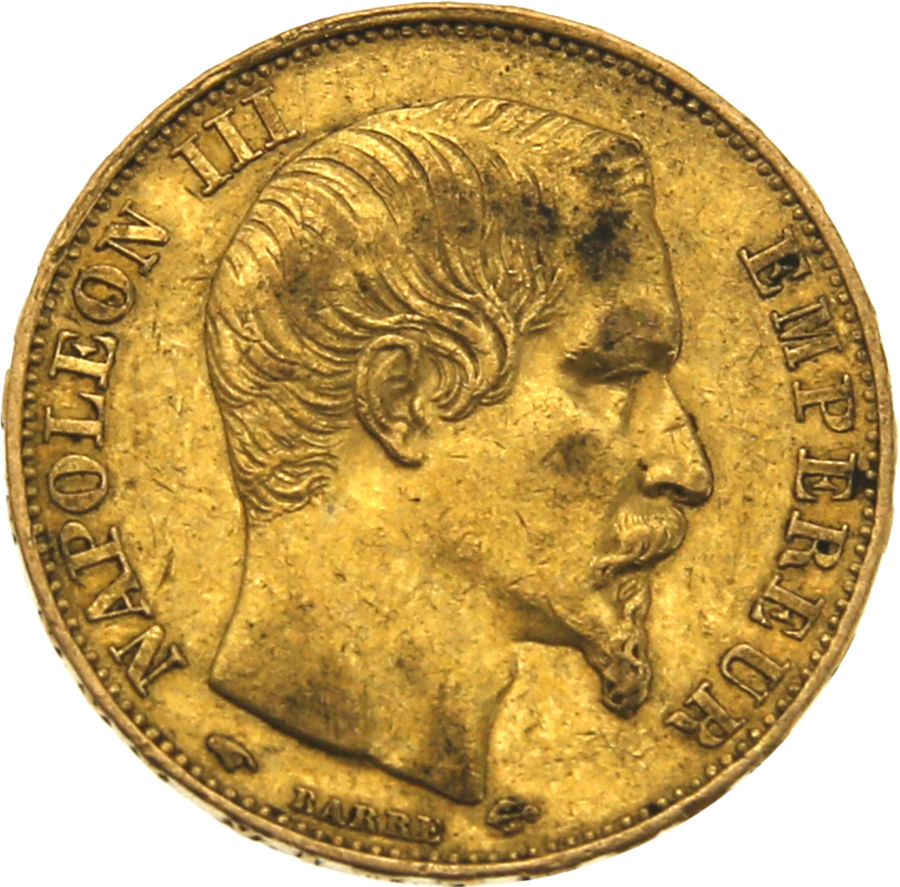Pre-Owned 1856 French Napoleon III Wreath 20 Franc Gold Coin