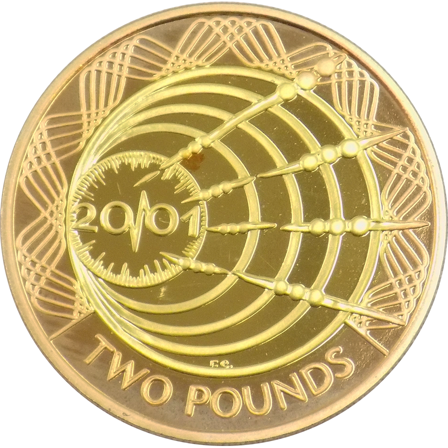 Pre-Owned 2001 UK Marconi Proof Design Double Sovereign Gold Coin