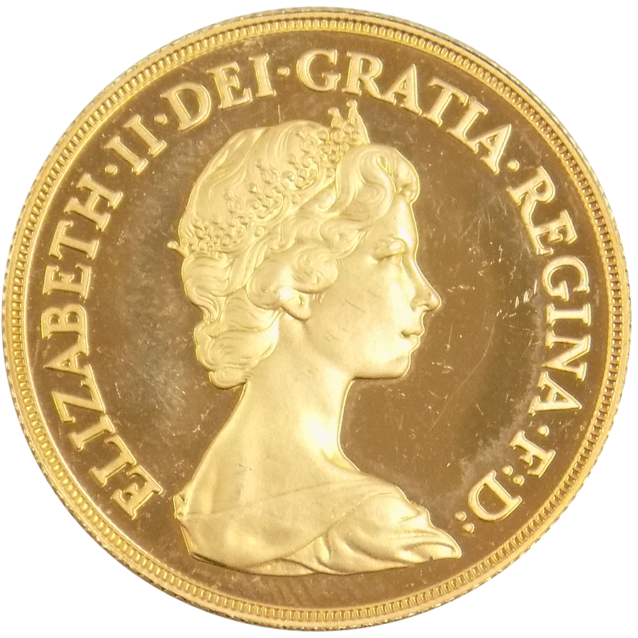 Pre-Owned 1980 UK Proof Design Double Sovereign Gold Coin