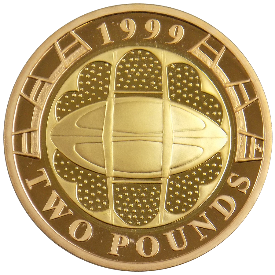 Pre-Owned 1999 UK Rugby World Cup Proof Design Double Sovereign Gold Coin
