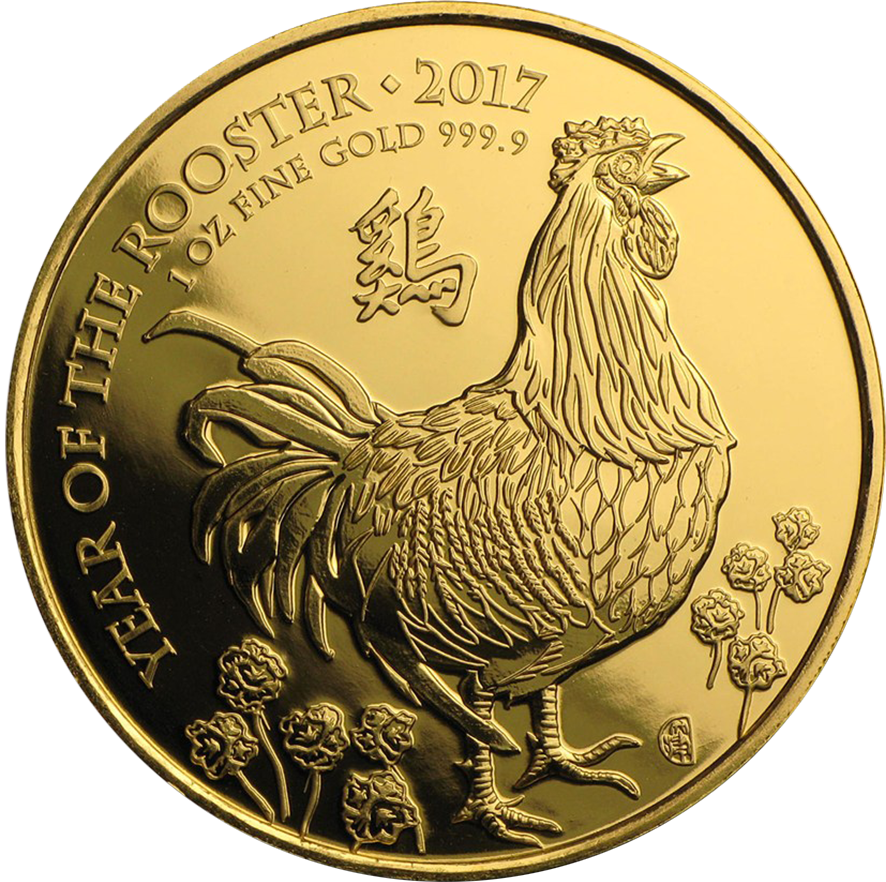 Pre-Owned 2017 UK Lunar Rooster 1oz Gold Coin