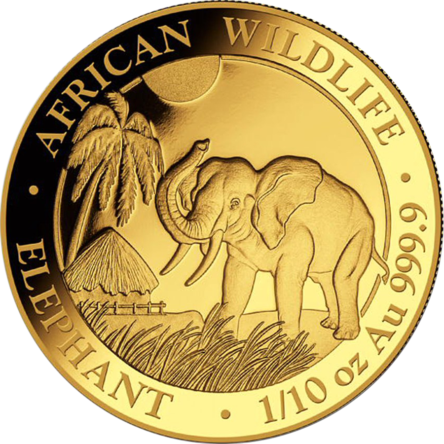 Pre-Owned 2017 Somalian Elephant 1/10oz Gold Coin