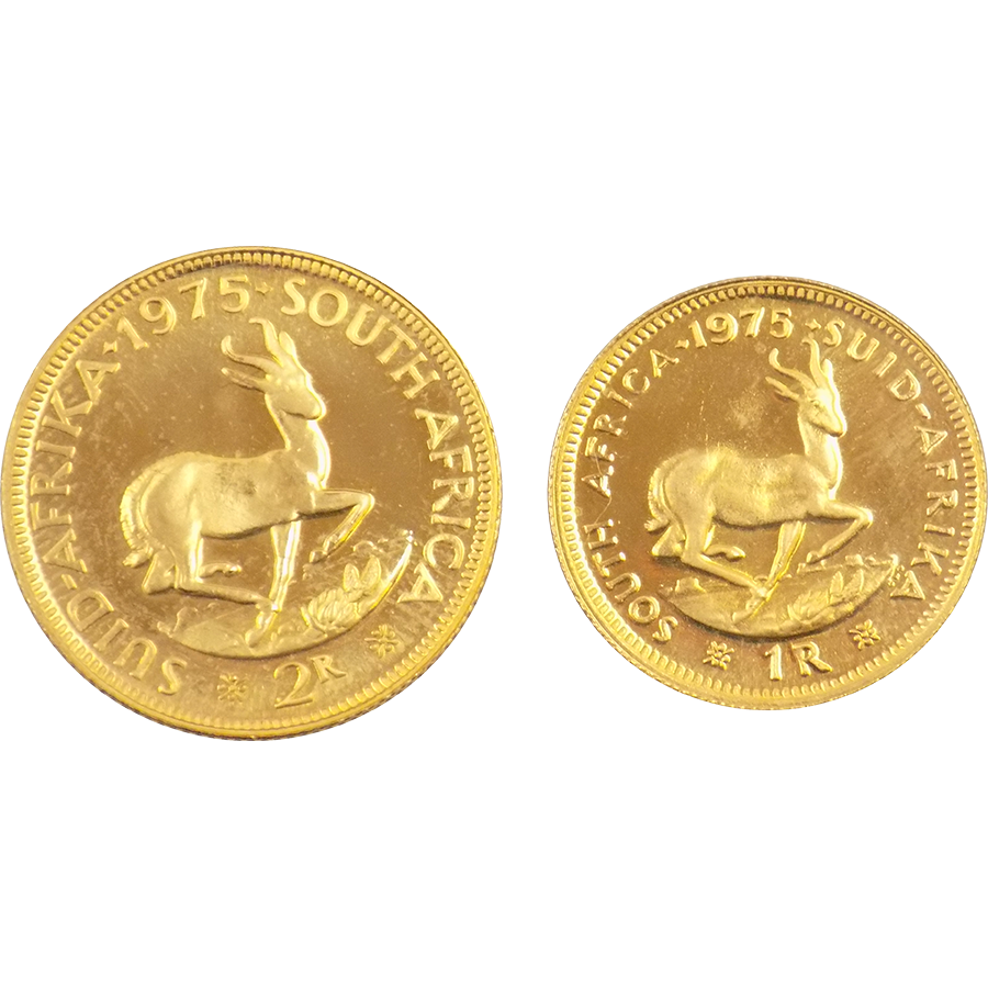 1975 South African 1 Amp 2 Rand Gold Coin Set Atkinsons