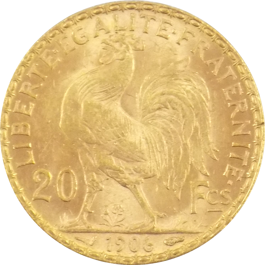 1906 French 20 Franc Rooster Gold Coin Old Gold Coins