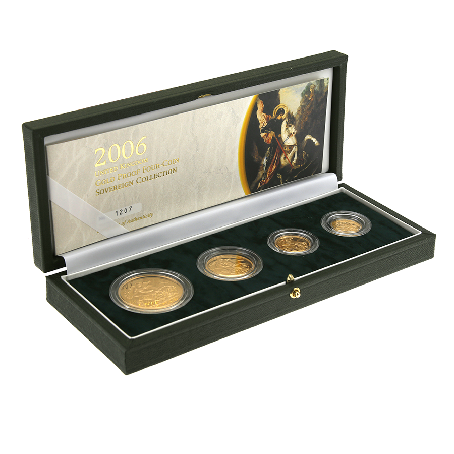 Pre-Owned 2006 UK Proof Sovereign 4 Gold Coin Set