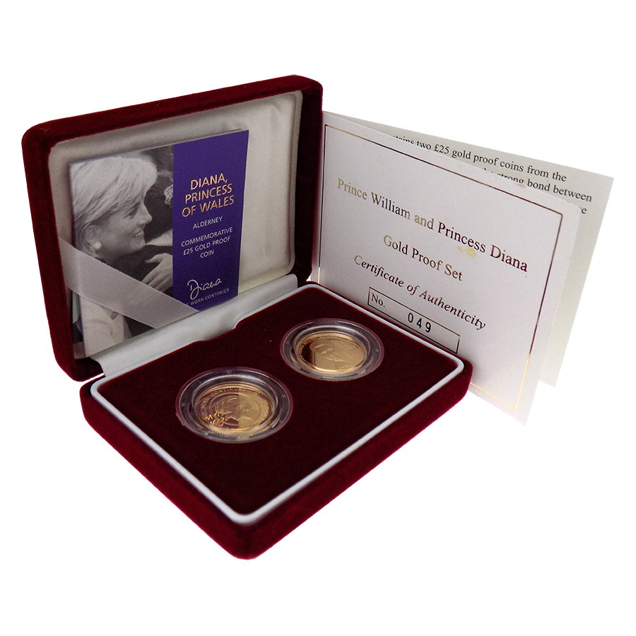 Pre-Owned 2002 Alderney Prince William & Princess Diana Gold Proof £25 Coin 2 Coin Set