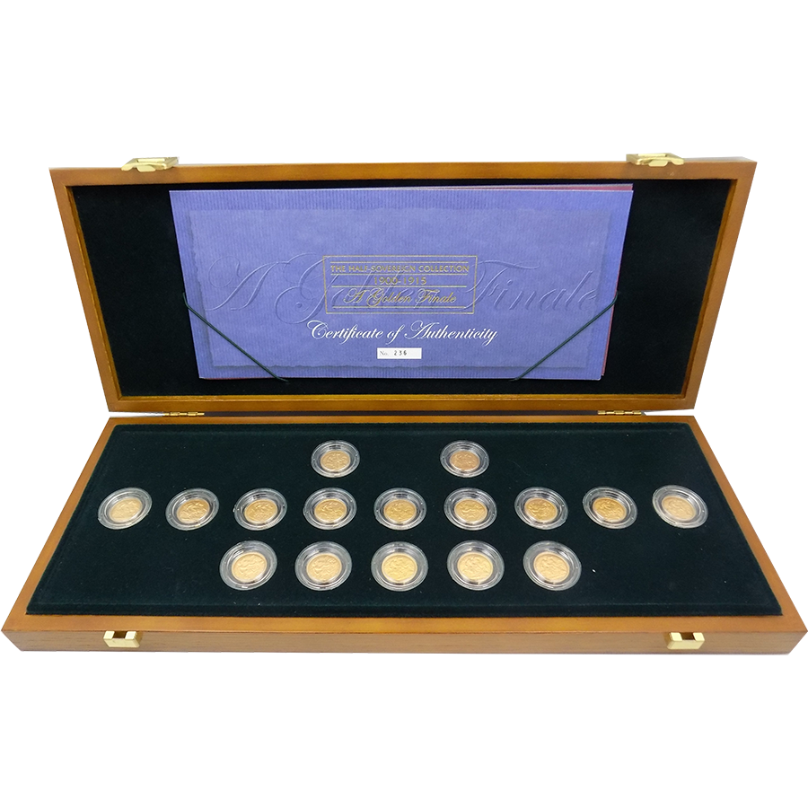 Pre-Owned 1900-1915 Half Sovereign 16 Gold Coin Set