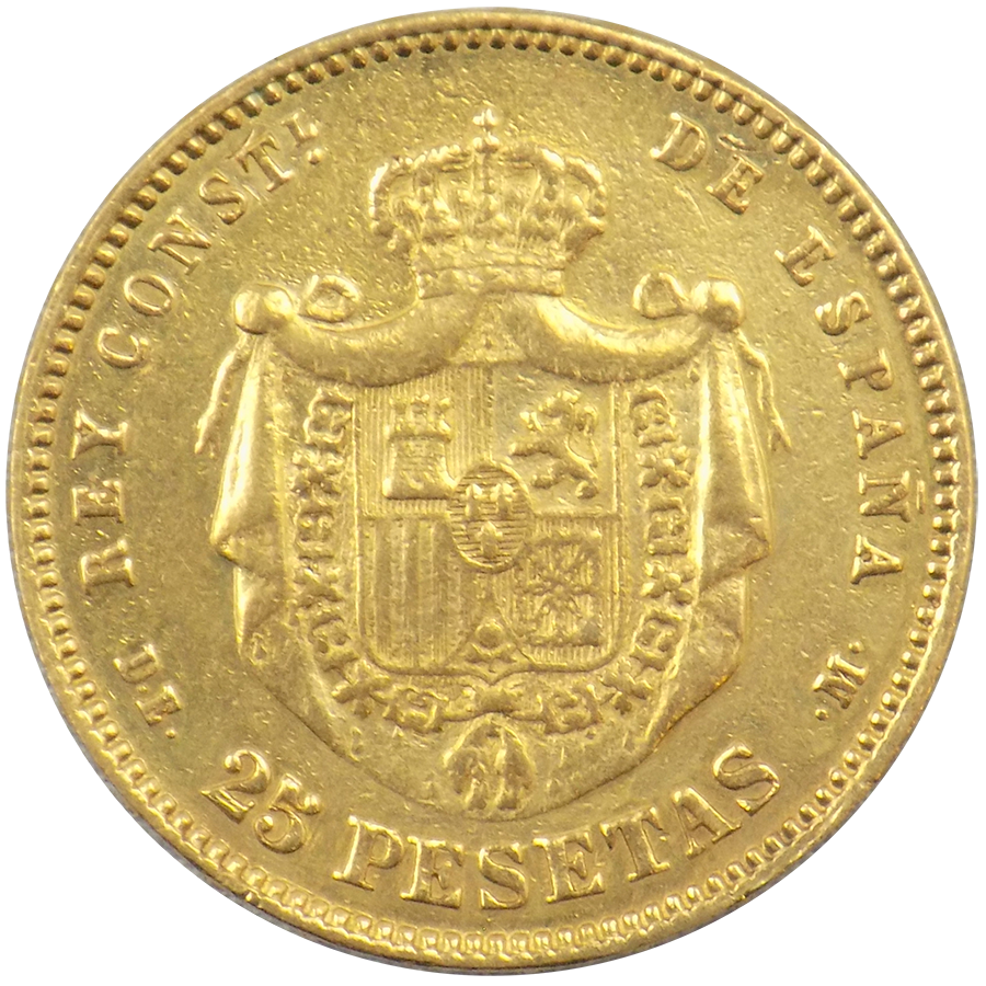 Spanish 25 Pesetas Gold Coin Atkinsons