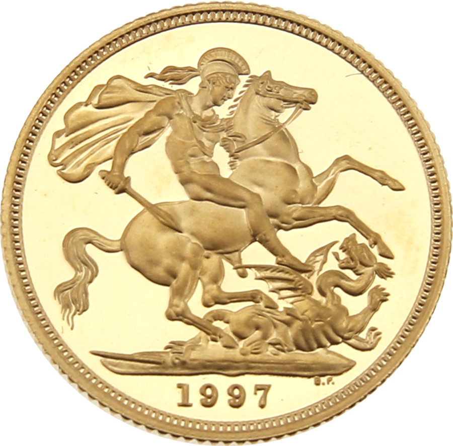 Pre-Owned 1997 UK Full Sovereign Proof Design Gold Coin (Image 2)
