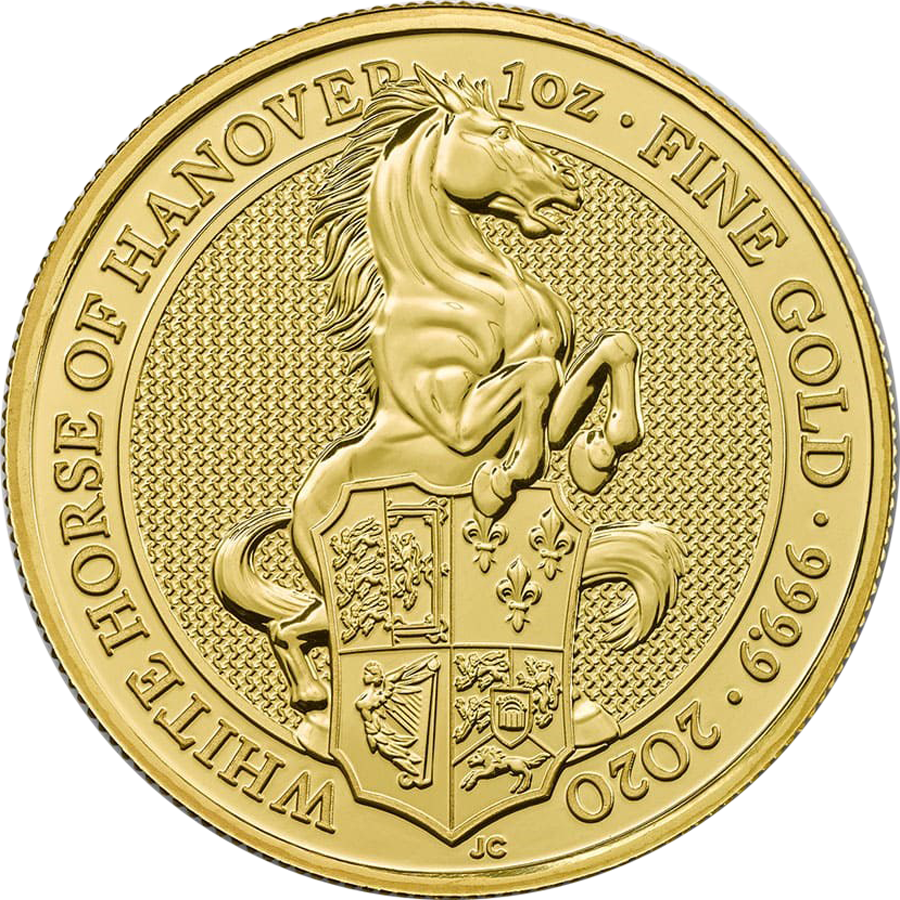 2020 UK Queen's Beasts The White Horse of Hanover 1oz Gold Coin